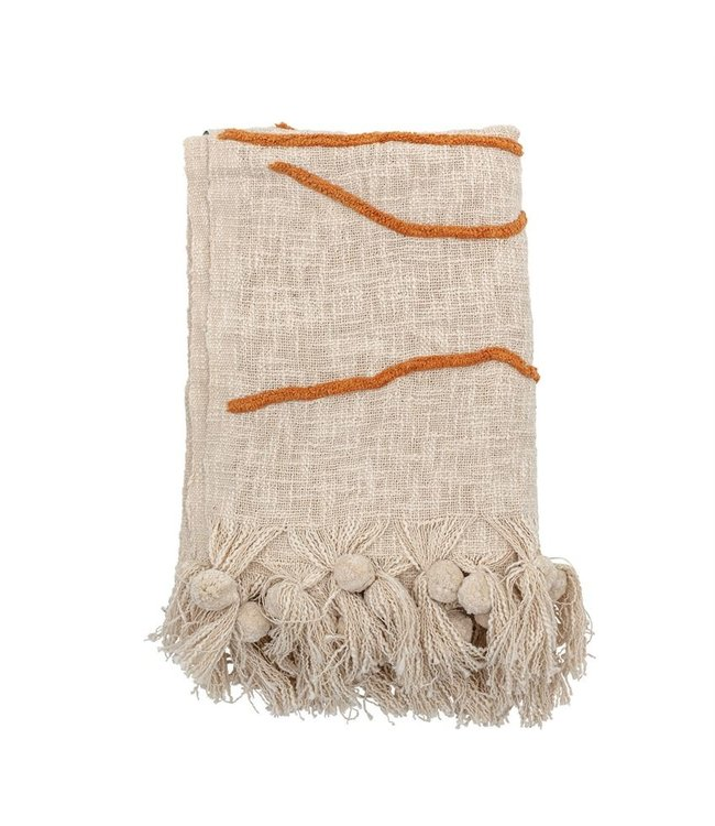 Bloomingville Cotton Embroidered Throw with Abstract Embroidery & Tassels, Cream Color