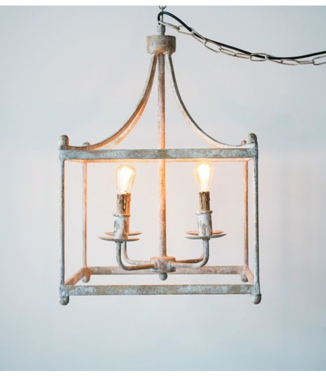 "Creative Co-Op 17"" Square x 26-3/4""H Metal Pendant Lamp, Distressed Cream Finish, 4 Lights"