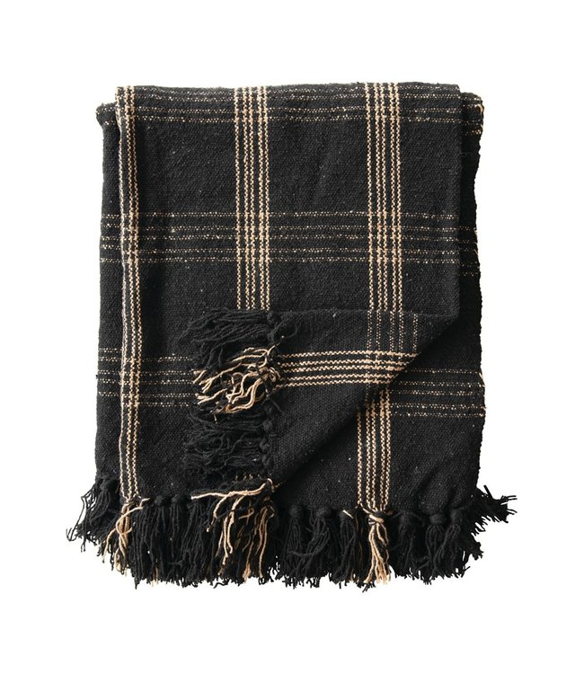 Creative Co-Op Black and Cream Woven Cotton Blend Throw with Fringe