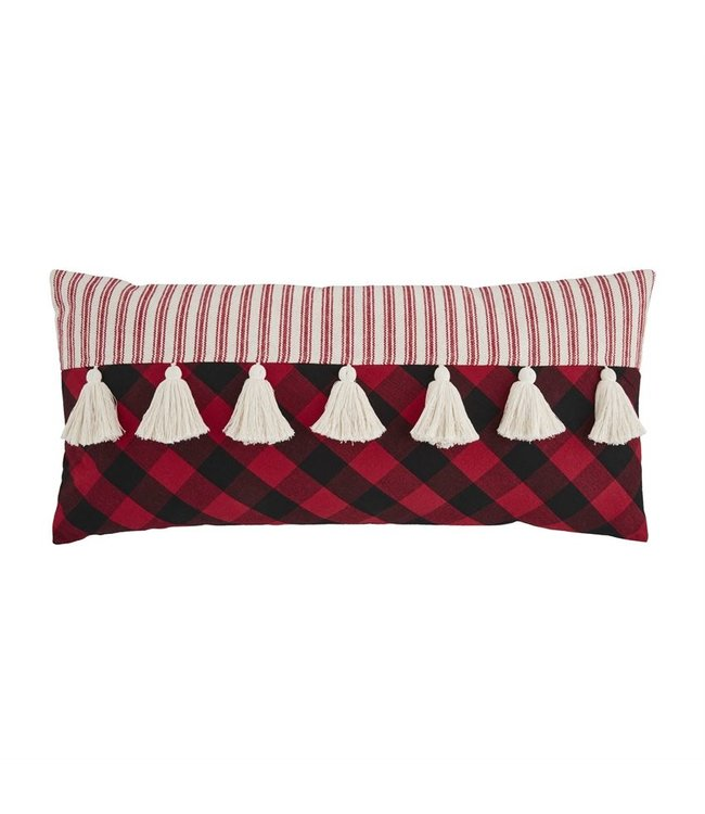 MudPie Long Tassel Check Pillow