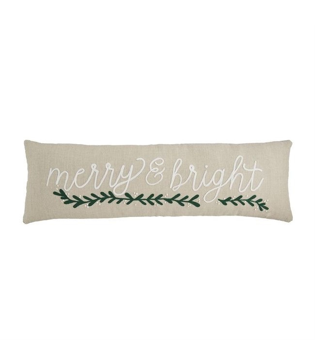 MudPie Holiday White Green Embroidered Pillow - Lumbar