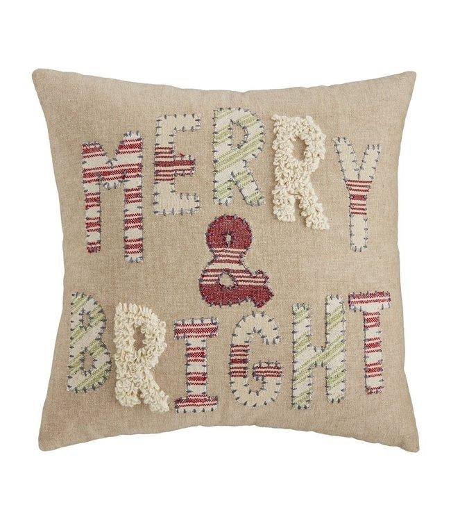 MudPie Merry & Bright Throw Pillow