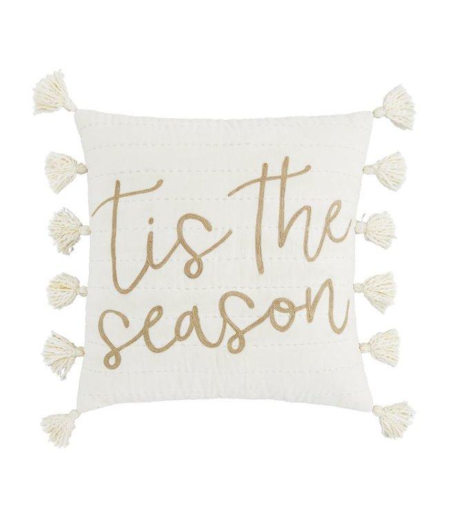 MudPie Gold Thread Tis the Season Christmas  Pillow