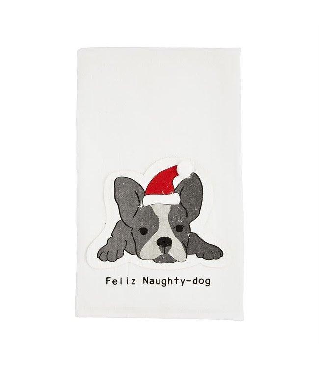 MudPie Feliz Naughty-Dog Flour Sack Towel