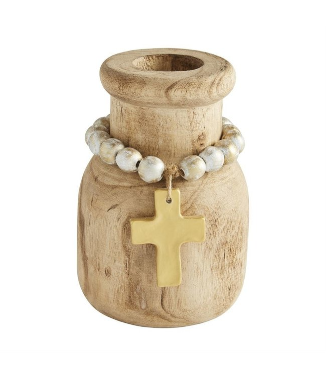 MudPie Beaded Pendant Bud Vase- Cross