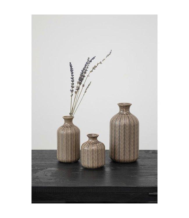 Creative Co-Op Embossed Stoneware Vases, Reactive Glaze- Medium