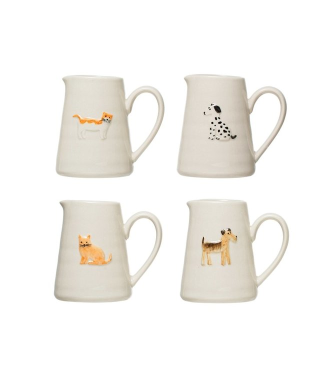 Creative Co-Op Hand-Painted Embossed Stoneware Creamer- Standing Cat