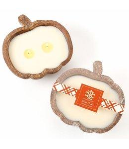Lux Fragrances Heirloom Pumpkin 2 Wick Candle in Wooden Pumpkin Bowl
