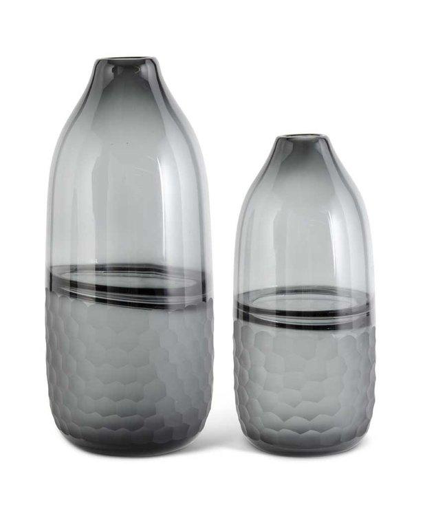 K&K Interiors Black Transparent Glass Vases w/Frosted Comb Pattern- Medium