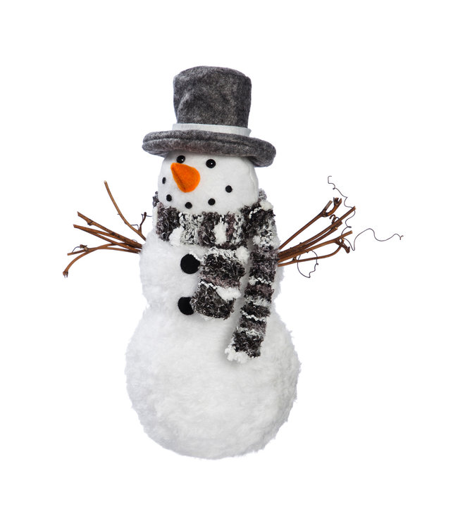 Evergreen Light Up Fabric Snowman with Grey Top Hat