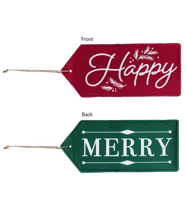 Evergreen Merry, Happy Reversible Door Tag