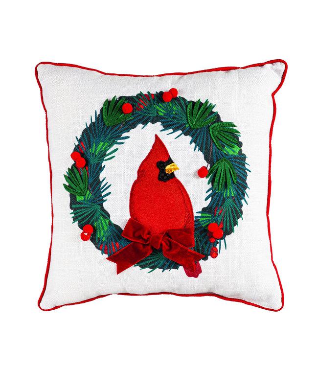 Evergreen Cardinal Wreath Square Pillow