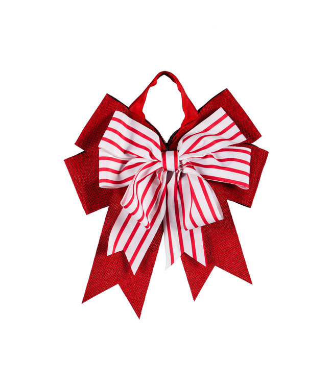 Evergreen Candy Stripe Door Tag Bow