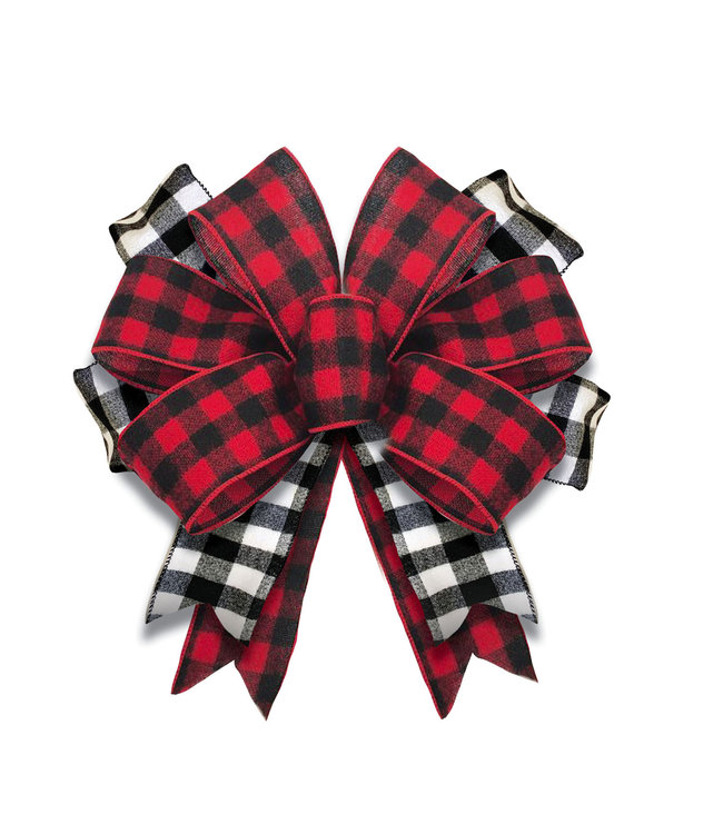 Evergreen Black and Red Buffalo Check Door Tag Bow