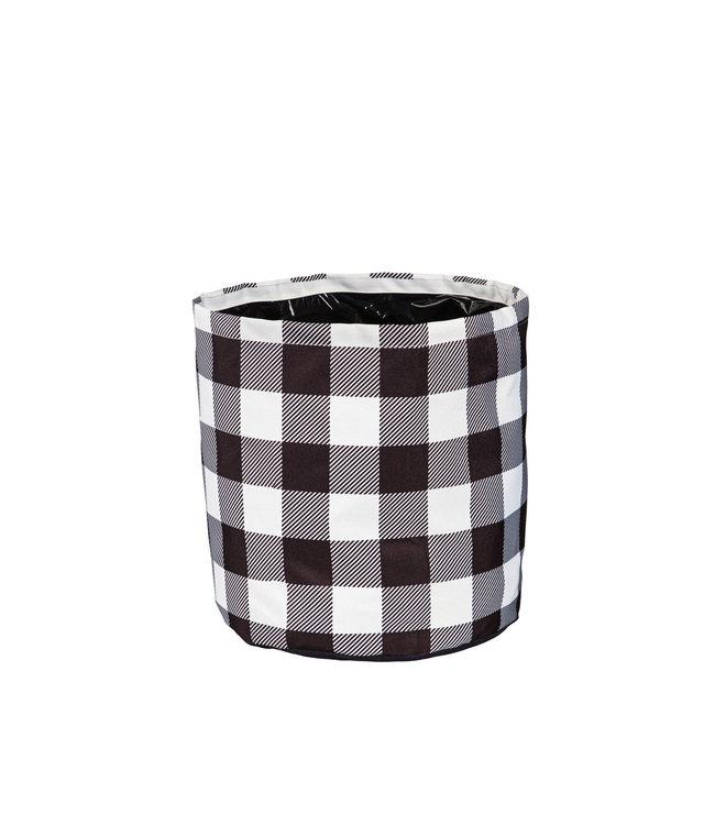 Evergreen Buffalo Check Round Fabric Planters- Medium