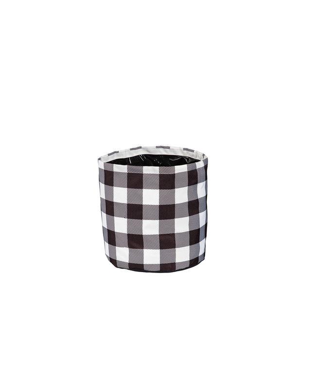 Evergreen Buffalo Check Round Fabric Planters- Small