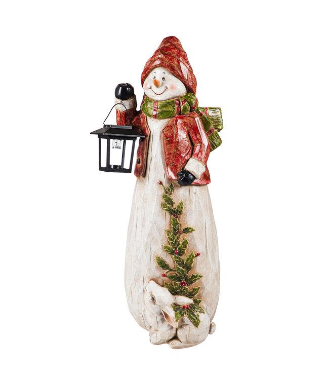 "Evergreen Snowman with Solar Lantern 24""H"