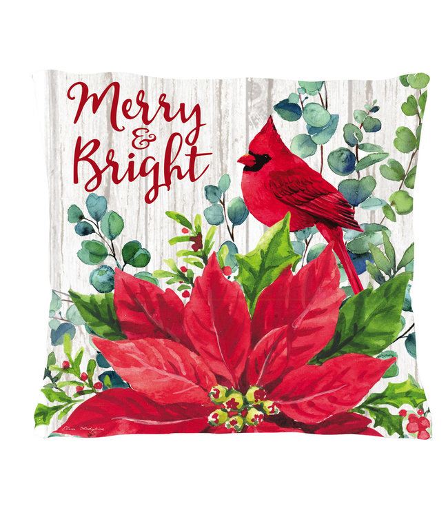 Evergreen Merry and Bright Poinsettia Outdoor Pillow Cover