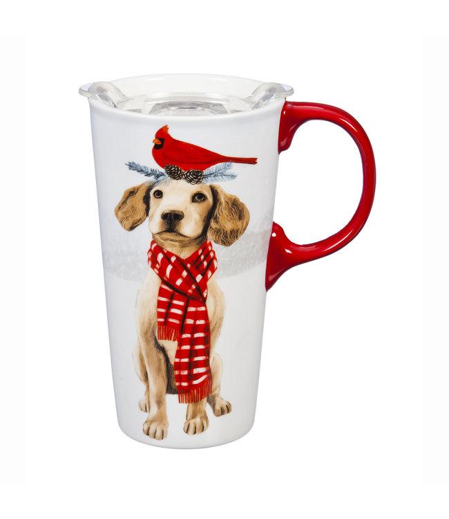 Evergreen Christmas Dog Ceramic Travel Mug