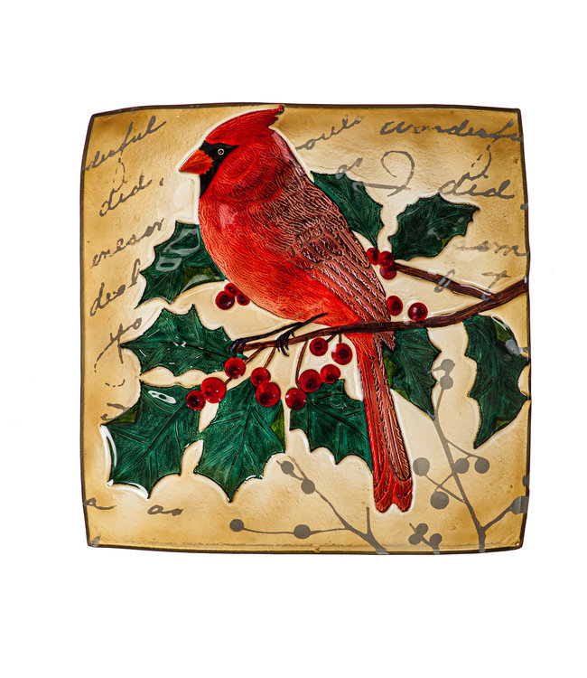 """Evergreen 16.5"""" Hand Painted Embossed Square Glass Bird Bath, Holiday Cardinal"""