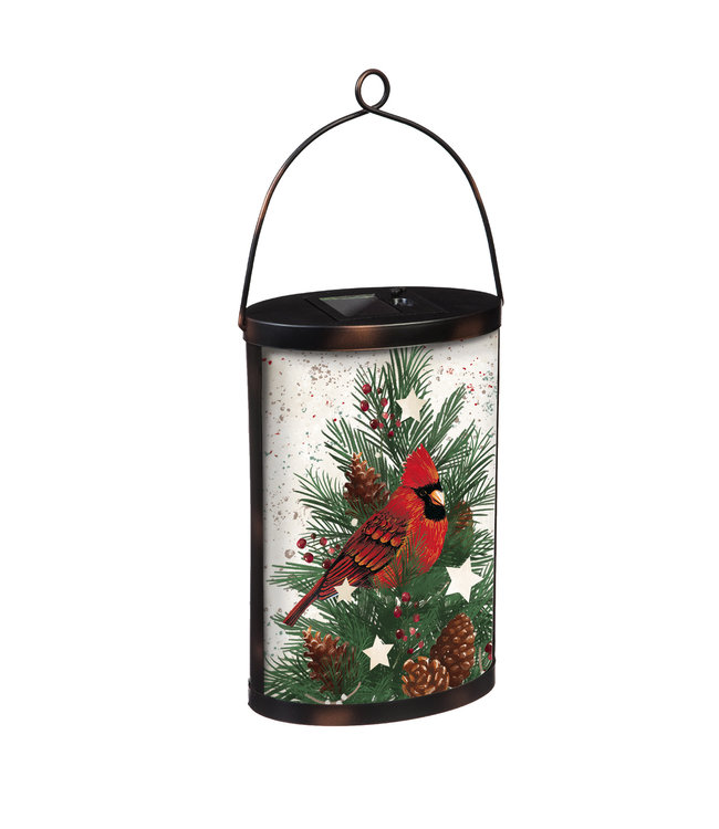 Evergreen Hand- Painted Solar Glass Lantern, Cardinal and Winter Spruce