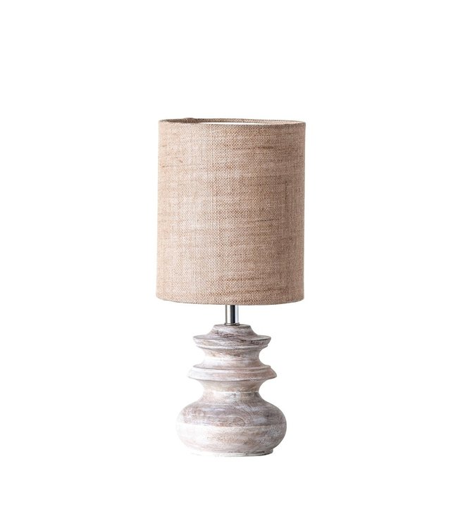 Creative Co-Op Bleached Mango Table Top Lamp with Jute Shade