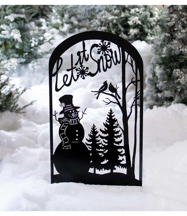 Evergreen Let It Snow Metal Garden Trellis Stake With Snowman