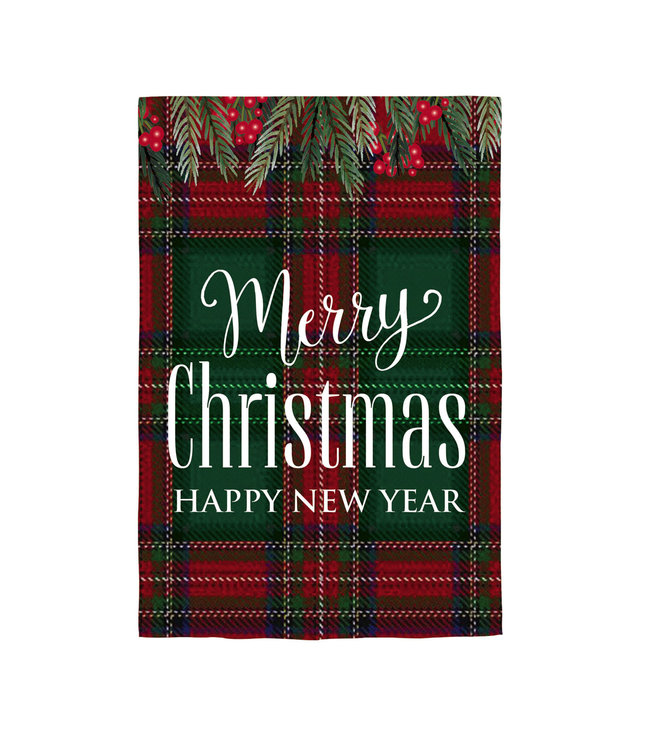 Evergreen Merry Christmas Happy New Year Garden Linen Flag