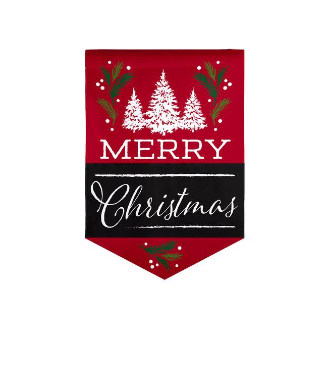Evergreen Merry Christmas Garden Burlap Flag