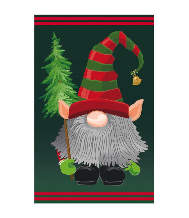 Evergreen Gnome Elf Garden Applique Flag