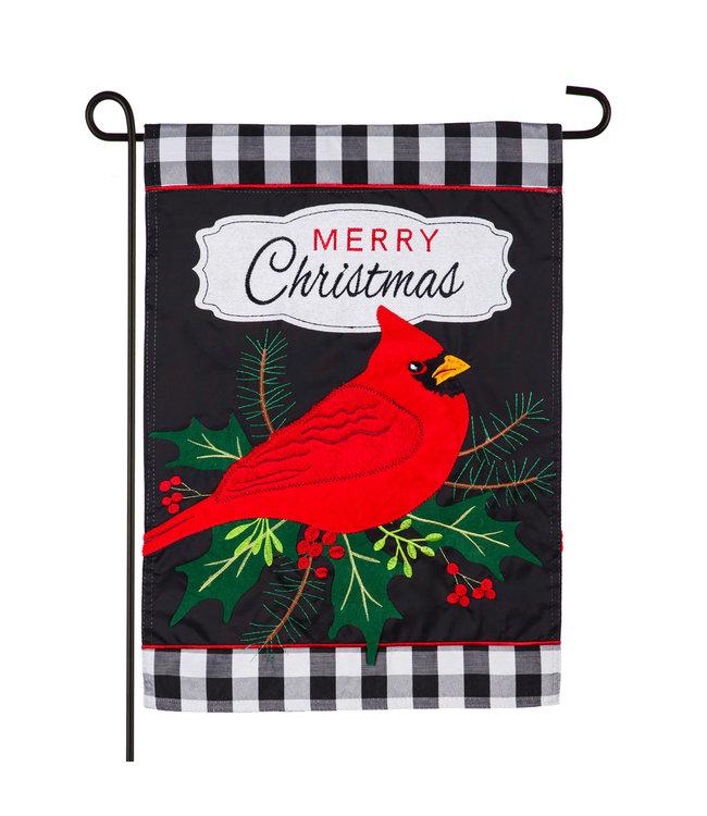 Evergreen Merry Christmas Cardinal Garden Applique Flag