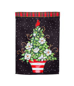 Evergreen Red Chinoiserie Topiary Garden Suede Flag
