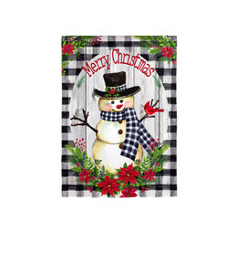 Evergreen Country Plaid Snowman Garden Strié Flag