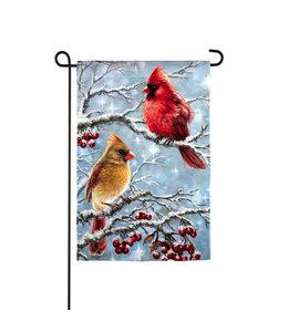 Evergreen Winter Cardinals Garden Suede Flag