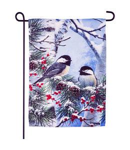 Evergreen Winter Chickadee Friends Garden Suede Flag