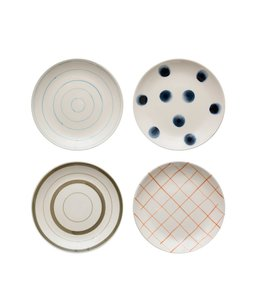 Creative Co-Op Hand Painted Blue Polka-Dot Stoneware Plate