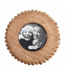 MudPie Small Circle Beaded Wood Frame