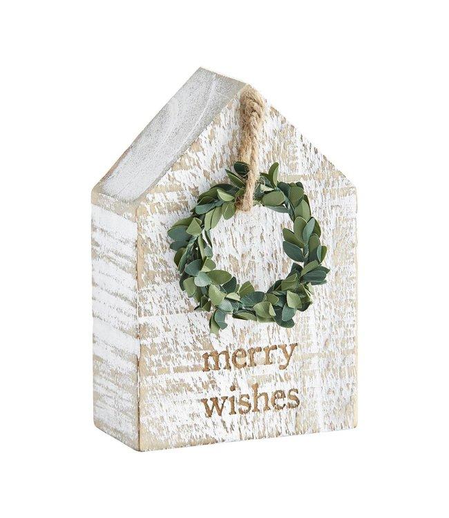 MudPie Merry Wishes Wreath Plaque