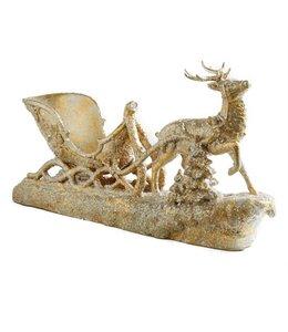 K&K Interiors 22 Inch Gold Resin Reindeer Sleigh