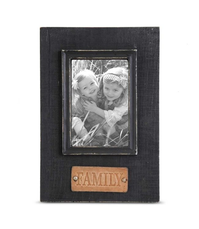 K&K Interiors Black Wooden Photo Frame w/FAMILY Embossed Leather Tag