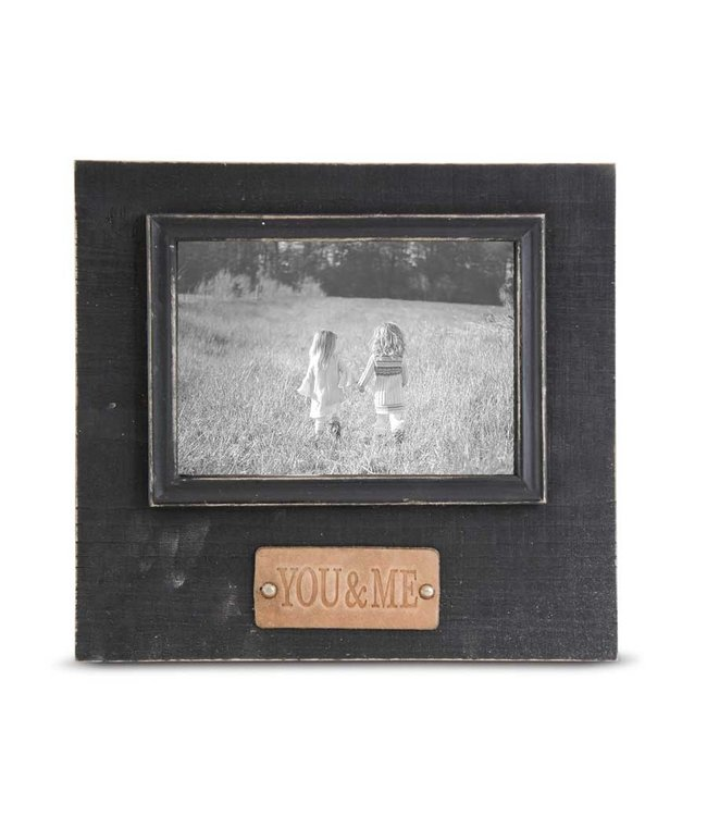 K&K Interiors Black Wooden Photo Frame with YOU & ME Embossed Leather Tag