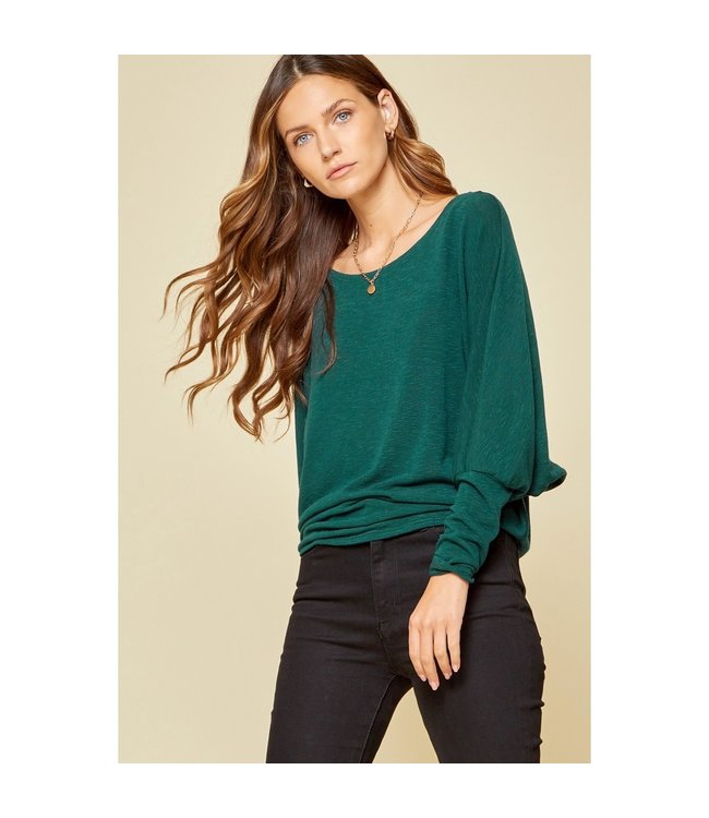 Andree Jewel Green Boat Neck Knit Top