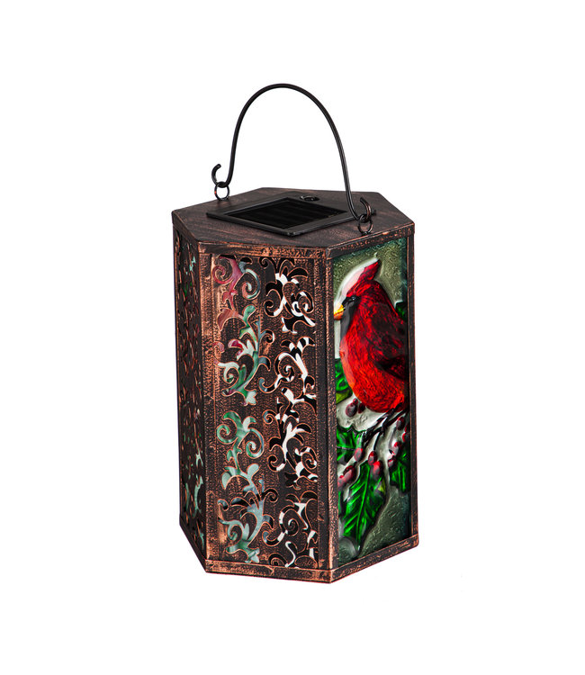 Evergreen Handpainted Embossed Glass and Metal Solar Lantern, Holiday Cardinal