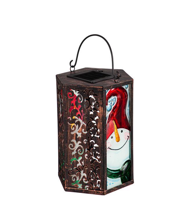 Evergreen Handpainted Embossed Glass and Metal Solar Lantern, Snowman