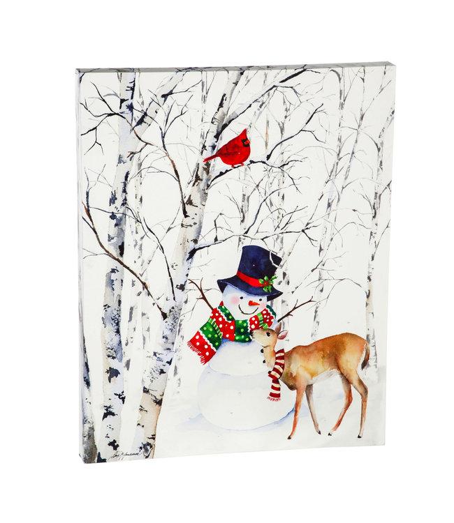 """Evergreen LED Canvas Wall Décor, 16""""W x 20""""H, Joyful Snowman"""