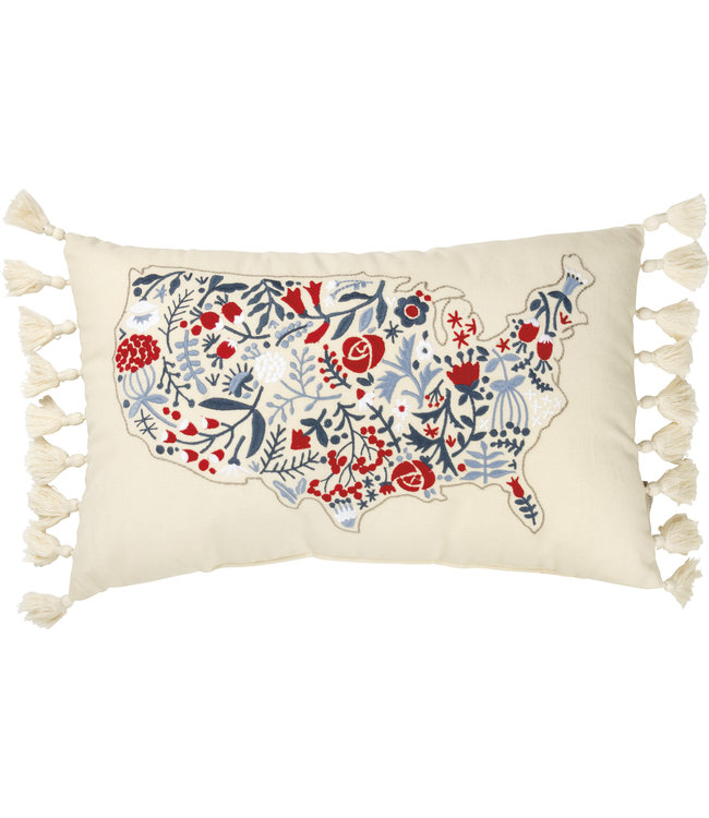 Primitives By Kathy Floral USA Map Pillow