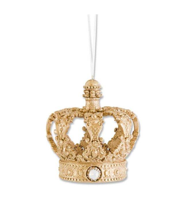 K&K Interiors Gold Resin Jeweled Crown Ornament