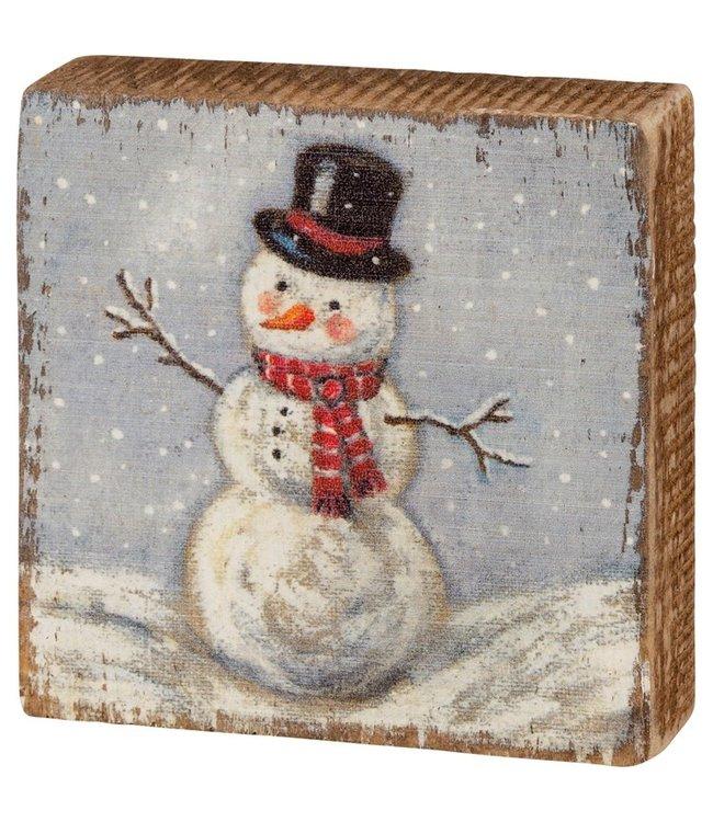 Primitives By Kathy Block Sign - Snowman