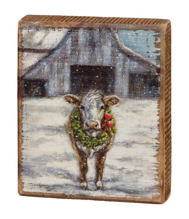 Primitives By Kathy Block Sign - Cow With Wreath