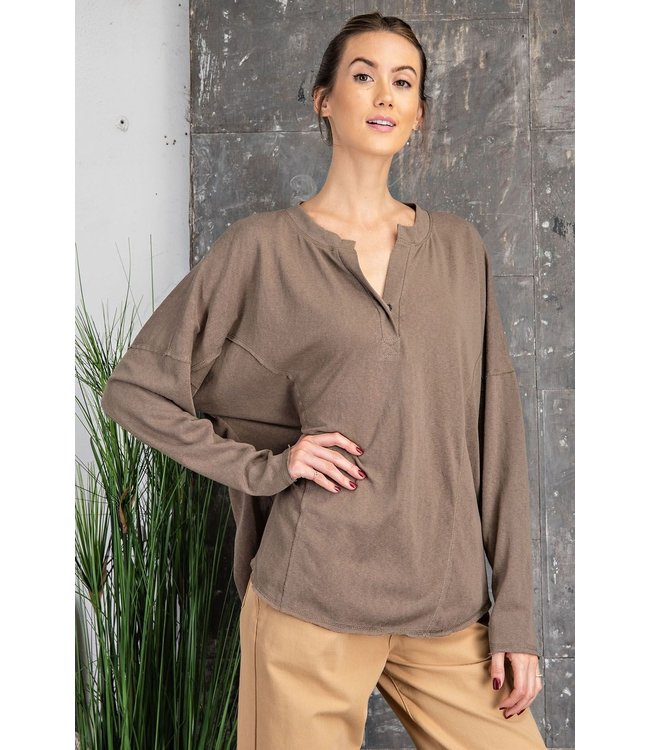 Easel Cotton Slub V Neck knit Top